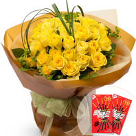노랑장미꽃다발